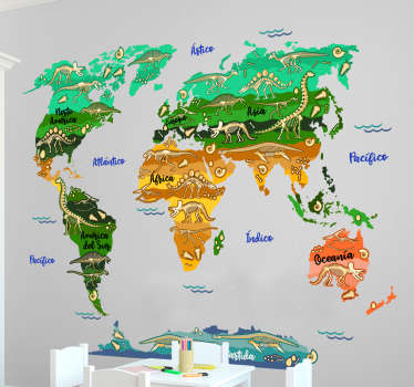 世界地図ステッカー恐竜