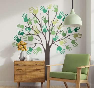 Vinilo habitación infantil árbol manos
