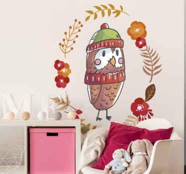 Beautiful illustrative wall art decal with the design of an autumn owl bird and colorful flowers. It is available in any size needed.