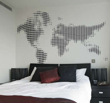 Sticker wereld gestippeld zwart