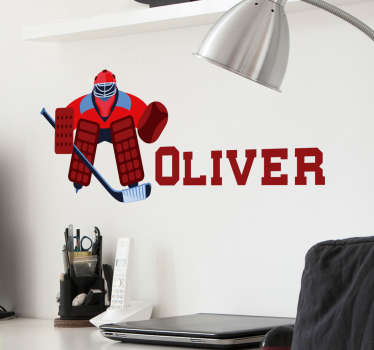 Customisable name hockey player wall sticker to decorate home, business and sort centers. It size is available in any requirement.