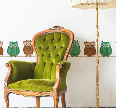 Naklejka na ścianę kolorowe sowy