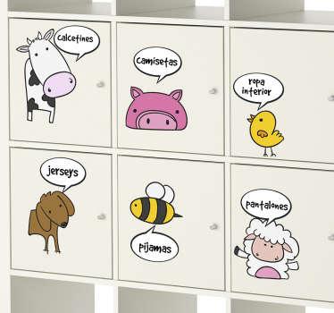Vinilos para muebles infantiles con el dibujo de diferentes animales y tipos de ropa, ideal para ayudar a ordenar a los más pequeños de casa.