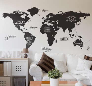 Decora tu pared con vinilos mapa del mundo originales, con el perfil de los continentes y sus nombres, además de los océanos.