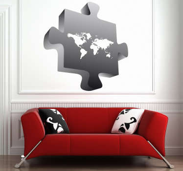 Creative world map sticker illustrating a puzzle piece with a 3D effect. A vinyl decal that will make your home or office stand out.
