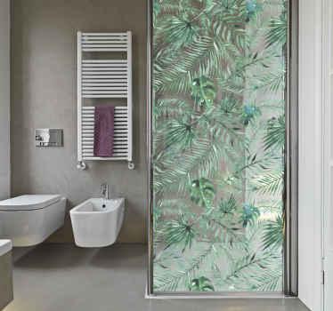 Sticker paroi de douche plantes tropicales