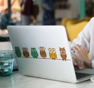 Fantastic laptop vinyl with the pattern of owls in different colours. Easy to apply on the surface and can be ordered in any size you need!