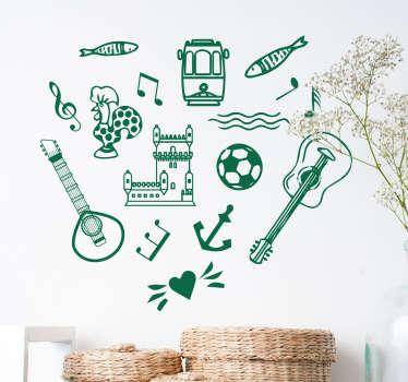 Mete a sua casa portuguesa com este autocolante decorativo com símbolos portugueses, tais como a bola de futebol, guitarra clássica e as sardinhas.