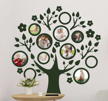 Tree plant wall art decal to decorate a family home space. This design is created with with photo space to make collection of family memory .
