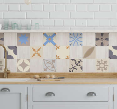 Buy our collection design of hydraulic tile vinyl sticker to decorate the tile space in a kitchen or bathroom . It is available in any size you want.