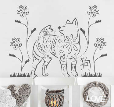 Vinilos para pared con un elegante dibujo de un perro, tu mascota favorita, con estilo oriental. Conmemora el año del perro chino.