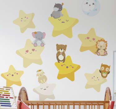 Vinilos decorativos infantiles con una representación de la luna, varias estrellas y sobre estas últimas una serie de cachorros de animales.
