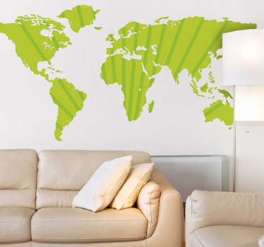 Decorative sticker illustrating a green world map. Excellent decal to decorate your living room and bring some colour into your home.