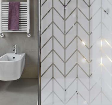 Elegant shower sticker with a geometric pattern to decorate the bathroom while maintaining privacy through the screen. The geometric bathroom decal can also be applied on windows or glass doors.