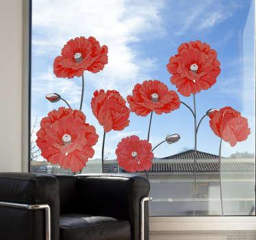 Autocolante para vidro flores vermelhas