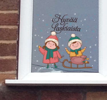 Festival day of ski window sticker to decorate a shop front window space. It is available in any size you want. It application is easy.