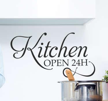 Adesivo decorativo Kitchen Open 24H