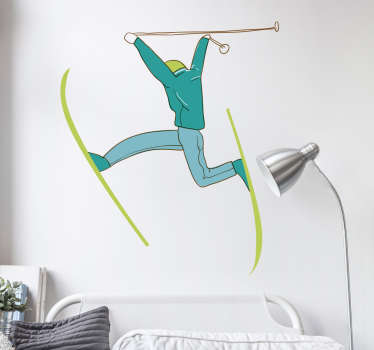 Ski sport wall vinyl sticker for children room decoration. The design is available in any desired size and it application is easy.