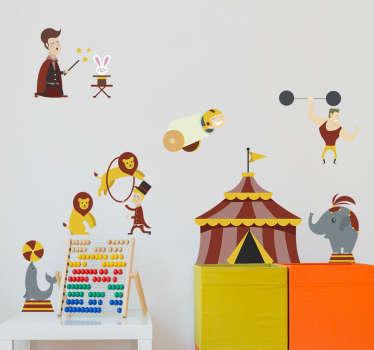 Süßes Wandtattoo mit verschiedene Zirkustieren, als tolle Dekorationsidee für das Kinderzimmer.