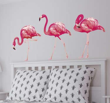Adesivo murale disegno fenicotteri rosa