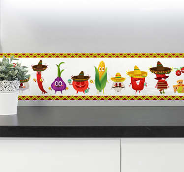 Vinil decorativo con diferentes dibujo de comida con trajes típicos mexicanos, cenefa adhesiva para darle color y divertido a tu cocina.