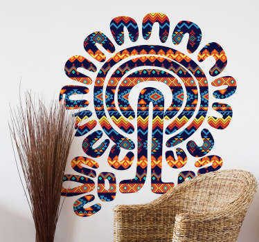 Decorate your room with this amazing and colorful wall decal. The design has a lot of bright colors that will brighten up your room. The tree is made up out of the aztec culture.