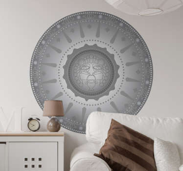 Aztec mandala location wall sticker to decorate a home space in style. We have the design in any size required and it application is simple.