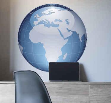 Sticker bol wereld turquoise Afrika