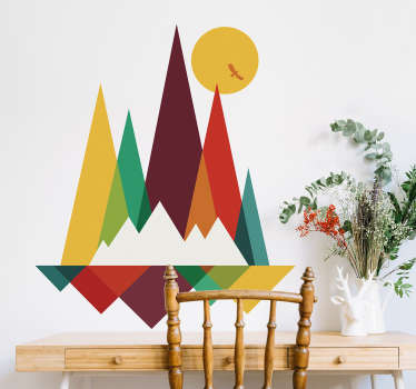 Decorative ornamental multi coloured geometric shape wall sticker designed in the the appearance of mountain. We have it in any size needed.