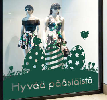 Decorative shop front window vinyl sticker for Easter holiday season. It is available in different colours and size options and it application is easy.