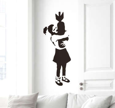 Urban wall art decal inspired by banksy art, featured with a girl hugging a bomb.It is available in any size required and in different colour options.