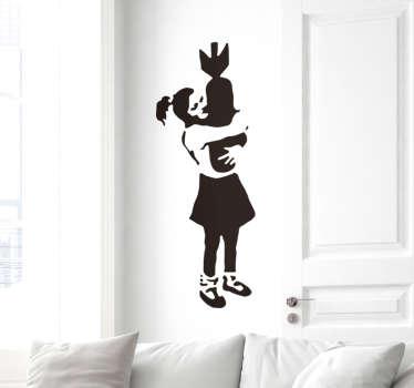 Vinilo decorativo Banksy abrazo bomba
