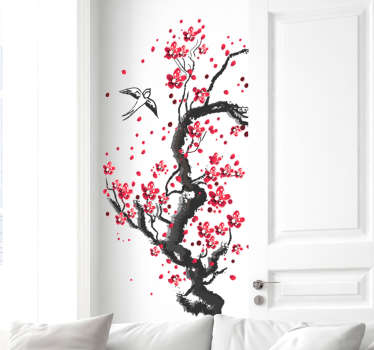 A self adhesive tree colorful plant wall art decal with flying bird. A lovely home decoration and it can be purchased in any size required.