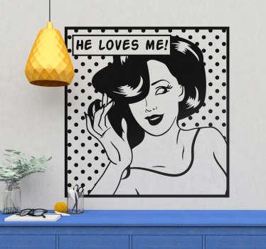 Adesivo decorativo ragazza pop art
