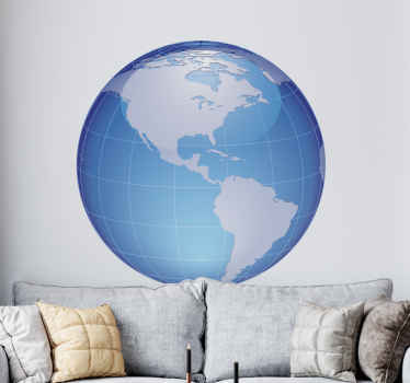 Another creative sticker of the world map showing us the biggest continent, America. Perfect to fill that empty space in your bedroom.