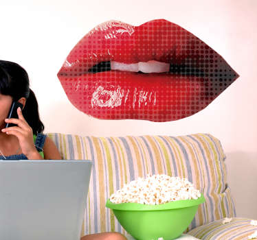 A beautiful decorative pop red lips wall art sticker to decorate any space in the flavor of love. It is available in any size needed.