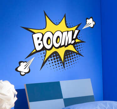 Tenstickers presenta una serie di stickers in fumettistica pop art per decorare in stile moderno la tua casa, come questo sticker onomatopeico Boom