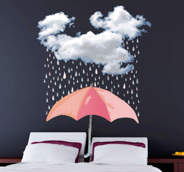 Decorative headboard wall sticker with an umbrella, rain drops and cloud design. A cozy design for a home and it is available in any size required.