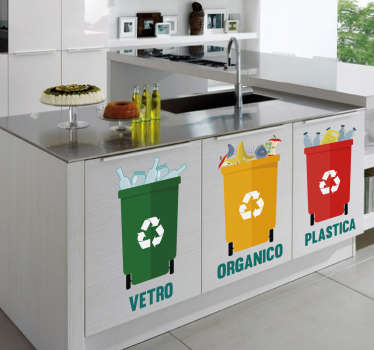 Decorative kitchen furniture vinyl decal featured with different recycling container for dustbin.It is easy to apply and available in different sizes.