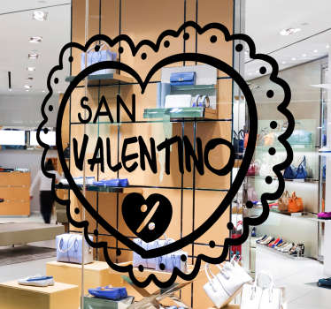 Window decal for valentine's day sale commercial sales promo. It comes in different colour option to choose from and it size is customisable.