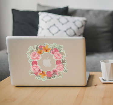 Macbook sticker bloemenkrans