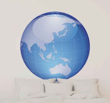Sticker bol wereld turquoise Oceanië