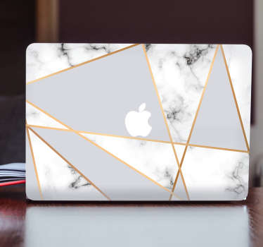 Decorate your Macbook with this original and geometrical marble design. The adhesive has different triangles with a marble pattern that will make it look like your laptop is made out of marble.