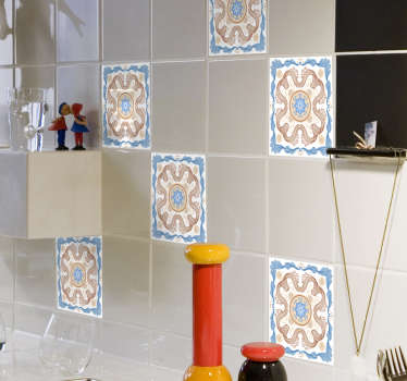 Filigree tile vinyl decal for decorating a kitchen or any space in the home. Easy to apply with wrinkle effect. Available in different sizes.