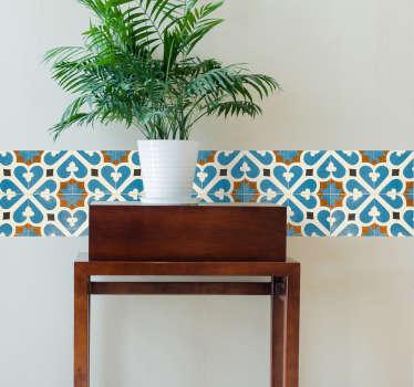 Dejligt blåt og orange design til at dekorere dine fliser med. Vores portugisiske fliseoverføringsbilleder er perfekte til dit køkken eller badeværelse.