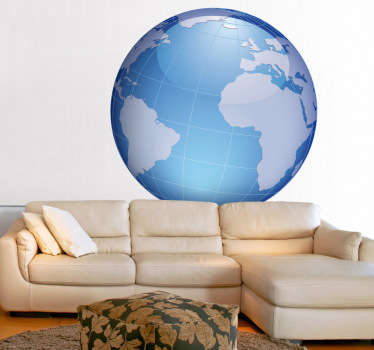 A world map sticker of the Atlantic Ocean. Perfect decal for those that love travelling and want to decorate their home .