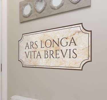 Latein Hippokrates Zitat Aufkleber, um das Haus in Einfachheit zu dekorieren. Es ist in jeder gewünschten Größe erhältlich und selbstklebend.