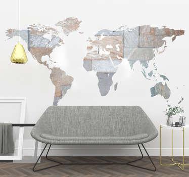 Naklejka mapa świata tekstura kamiennego muru