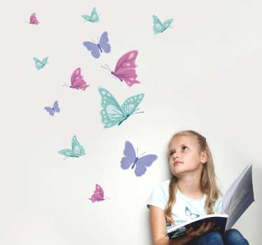 Decorate the bedroom space of a kid with this original butterflies print decal made in colorful style. We have it in any size needed.