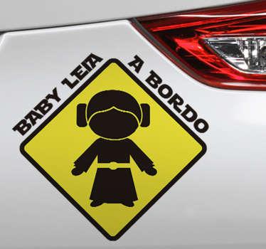Autocolante para carro Baby Leia a bordo